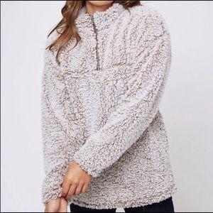 Fuzzy Sherpa Pullover Quarter Zip Fleece Teddy